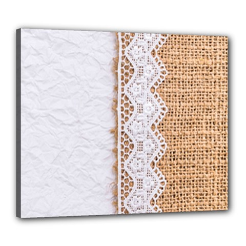 Parchement,lace And Burlap Canvas 24  X 20  by 8fugoso