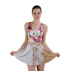 Parchement,lace And Burlap Mini Skirt by 8fugoso