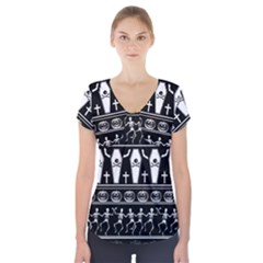Halloween Pattern Short Sleeve Front Detail Top