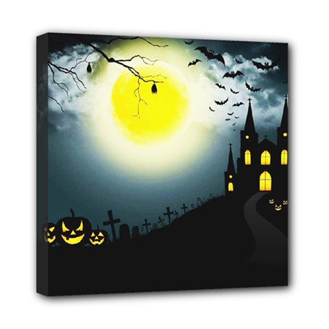 Halloween Landscape Mini Canvas 8  X 8  by ValentinaDesign