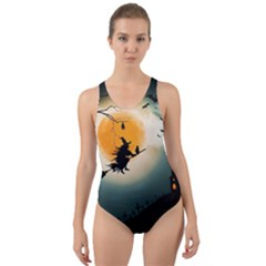 Halloween Landscape Cut-out Back One Piece Swimsuit