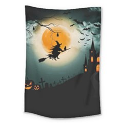 Halloween Landscape Large Tapestry by ValentinaDesign