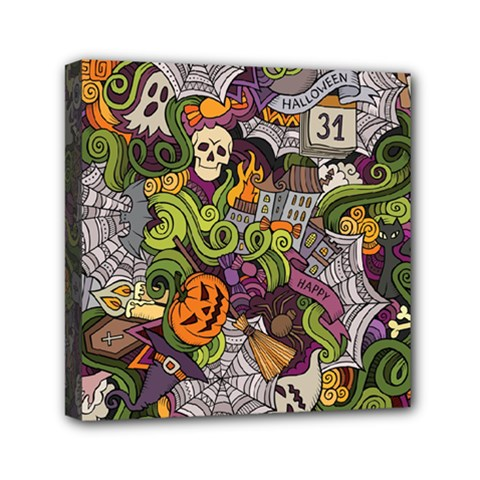 Halloween Pattern Mini Canvas 6  X 6  by ValentinaDesign
