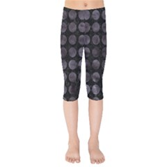 Circles1 Black Marble & Black Watercolor Kids  Capri Leggings