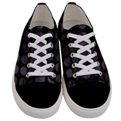 Circles1 Black Marble & Black Watercolor Women s Low Top Canvas Sneakers