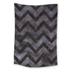 Chevron9 Black Marble & Black Watercolor (r) Large Tapestry by trendistuff