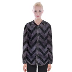 Chevron9 Black Marble & Black Watercolor (r) Womens Long Sleeve Shirt