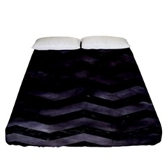 Chevron3 Black Marble & Black Watercolor Fitted Sheet (california King Size) by trendistuff