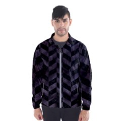 Chevron1 Black Marble & Black Watercolor Wind Breaker (men) by trendistuff