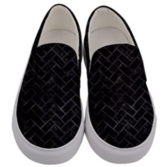 Brick2 Black Marble & Black Watercolor Men s Canvas Slip Ons