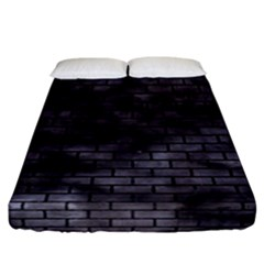 Brick1 Black Marble & Black Watercolor (r) Fitted Sheet (california King Size) by trendistuff