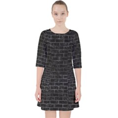 Brick1 Black Marble & Black Watercolor Pocket Dress