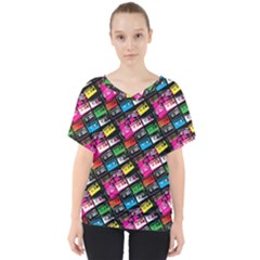 Pattern Colorfulcassettes Icreate V Neck Dolman Drape Top