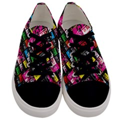 Pattern Colorfulcassettes Icreate Men s Low Top Canvas Sneakers