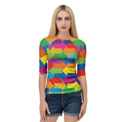 Arrow Rainbow Orange Blue Yellow Red Purple Green Quarter Sleeve Raglan Tee by Mariart