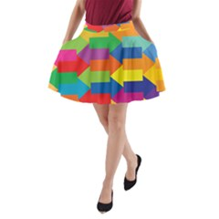 Arrow Rainbow Orange Blue Yellow Red Purple Green A-line Pocket Skirt