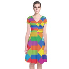 Arrow Rainbow Orange Blue Yellow Red Purple Green Short Sleeve Front Wrap Dress by Mariart