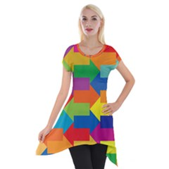 Arrow Rainbow Orange Blue Yellow Red Purple Green Short Sleeve Side Drop Tunic by Mariart