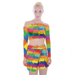 Arrow Rainbow Orange Blue Yellow Red Purple Green Off Shoulder Top With Skirt Set