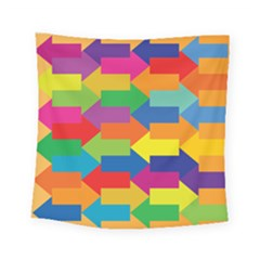 Arrow Rainbow Orange Blue Yellow Red Purple Green Square Tapestry (small) by Mariart