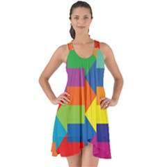 Arrow Rainbow Orange Blue Yellow Red Purple Green Show Some Back Chiffon Dress