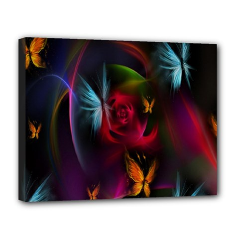 Beautiful Butterflies Rainbow Space Canvas 14  X 11  by Mariart