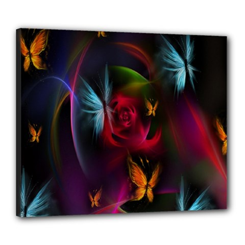 Beautiful Butterflies Rainbow Space Canvas 24  X 20