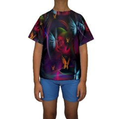 Beautiful Butterflies Rainbow Space Kids  Short Sleeve Swimwear by Mariart