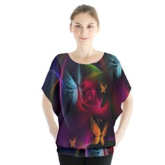 Beautiful Butterflies Rainbow Space Blouse by Mariart