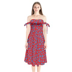 Blue Red Space Galaxy Shoulder Tie Bardot Midi Dress