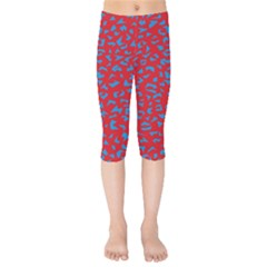 Blue Red Space Galaxy Kids  Capri Leggings  by Mariart