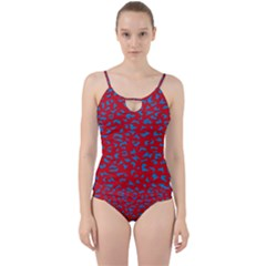 Blue Red Space Galaxy Cut Out Top Tankini Set
