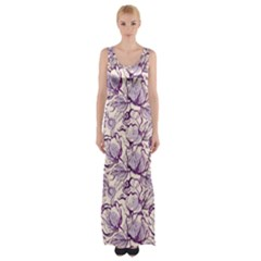 Vegetable Cabbage Purple Flower Maxi Thigh Split Dress by Mariart