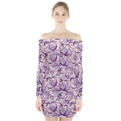 Vegetable Cabbage Purple Flower Long Sleeve Off Shoulder Dress