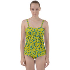 Blue Yellow Space Galaxy Twist Front Tankini Set