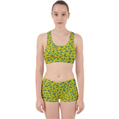 Blue Yellow Space Galaxy Work It Out Sports Bra Set