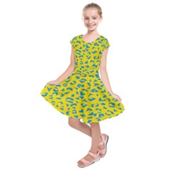 Blue Yellow Space Galaxy Kids  Short Sleeve Dress by Mariart