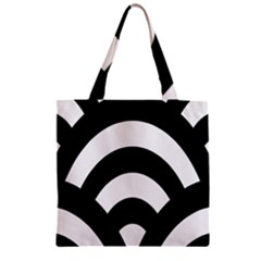 Circle White Black Zipper Grocery Tote Bag by Mariart
