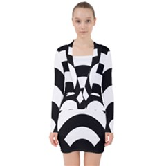 Circle White Black V Neck Bodycon Long Sleeve Dress by Mariart
