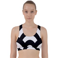 Circle White Black Back Weave Sports Bra