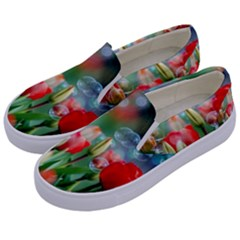 Colorful Flowers Kids  Canvas Slip Ons by Mariart