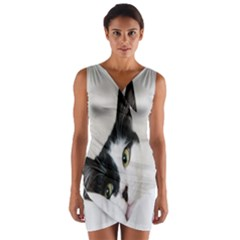 Cat Face Cute Black White Animals Wrap Front Bodycon Dress
