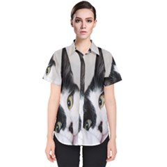 Cat Face Cute Black White Animals Women s Short Sleeve Shirt