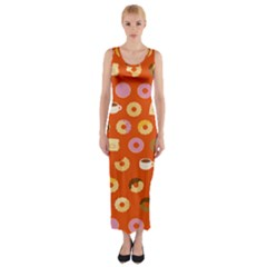 Coffee Donut Cakes Fitted Maxi Dress