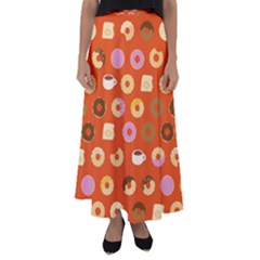 Coffee Donut Cakes Flared Maxi Skirt