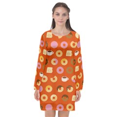 Coffee Donut Cakes Long Sleeve Chiffon Shift Dress