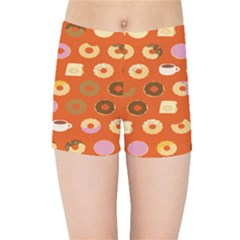 Coffee Donut Cakes Kids Sports Shorts by Mariart