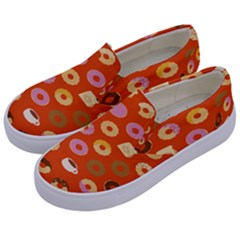 Coffee Donut Cakes Kids  Canvas Slip Ons by Mariart