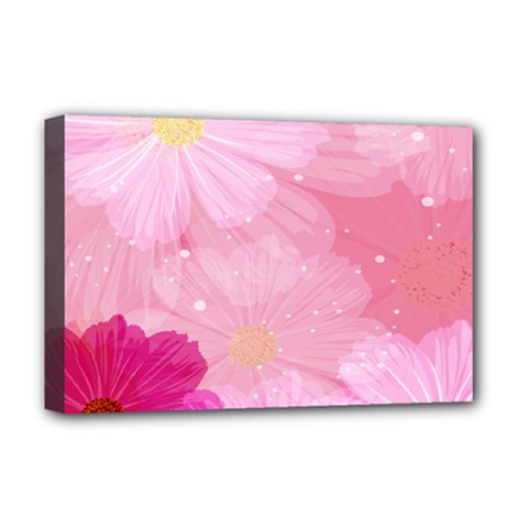 Cosmos Flower Floral Sunflower Star Pink Frame Deluxe Canvas 18  X 12   by Mariart