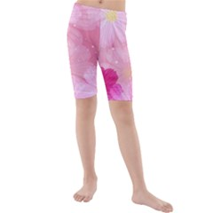 Cosmos Flower Floral Sunflower Star Pink Frame Kids  Mid Length Swim Shorts